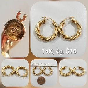 14k Gold Round Rope Twist Hoop Earrings 4g.
